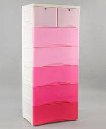 7 Compartment Storage Cabinet With Wheels - Pink