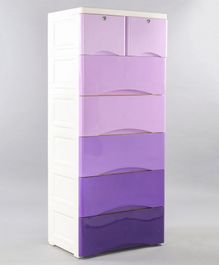 7 Compartment Storage Cabinet With Wheels - Purple