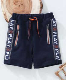 Little Kangaroos Shorts With Drawstring Play Print - Navy Blue