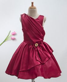 Enfance Bow Detailed Solid Sleeveless Dress - Maroon