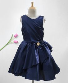 Enfance Bow Detailed Solid Sleeveless Dress - Navy Blue