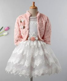 Enfance Lace Work Dress With Full Sleeves Flower Applique Shrug - Pink & White