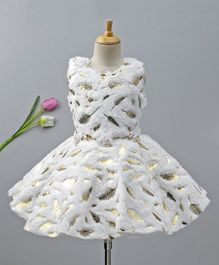 Enfance Leaves Detailed Sleeveless Dress With Belt - White