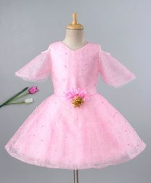 Enfance Full Sleeves Flower Applique Fit & Flare Cold Shoulder Dress - Pink