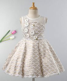 Enfance Sleeveless Shell Design Flower Applique Dress - Beige