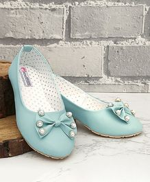 D'Chica Mary Jane With Bow & Pearl Applique - Blue