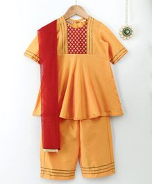 Amairaa Half Sleeves Kurti & Palazzo With Dupatta Set - Yellow