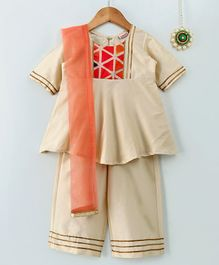 Amairaa Half Sleeves Kurti & Palazzo With Dupatta Set - Beige