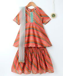 Amairaa Half Sleeves Leheriya Print Kurti & Sharara With Dupatta Set - Orange