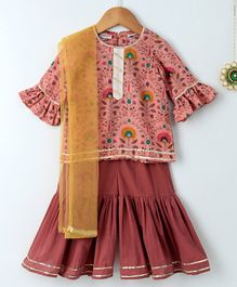 Amairaa Half Sleeves Printed Kurti & Sharara With Dupatta Set - Pink & Brown