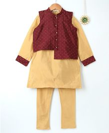 Amairaa Long Sleeves Kurta & Pajama With Dot Design Jacket Set - Cream & Maroon