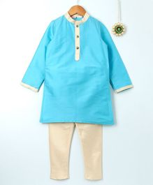 Amairaa Solid Long Sleeves Kurta & Pajama Set - Blue