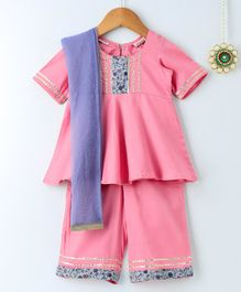 Amairaa Half Sleeves Flower Panel Kurti & Palazzo With Dupatta Set - Pink