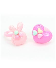 Asthetika Bunny & Heart Applique Set Of 2 Finger Rings - Pink