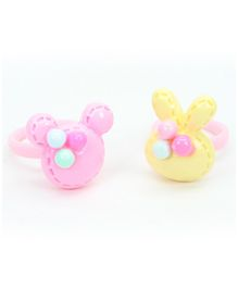Asthetika Mouse & Bunny Applique Set Of 2 Finger Rings - Yellow & Pink