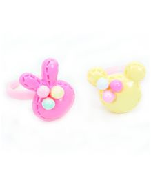 Asthetika Mouse & Bunny Finger Rings Set Of 2 - Pink & Yellow
