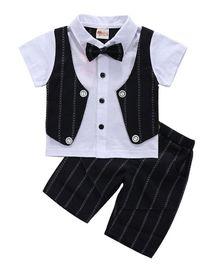 Pre Order - Awabox Bow Detail Striped Mock Waistcoat Short Sleeves Shirt & Shorts Set - Black