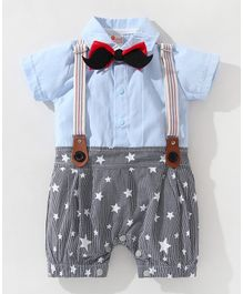 Pre Order -  Awabox Short Sleeves Star Print Bow Applique Romper - Blue