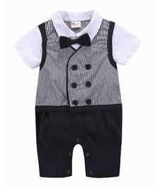 Pre Order -  Awabox Checkered Bow Applique Short Sleeves Attached Waistcoat Romper - White