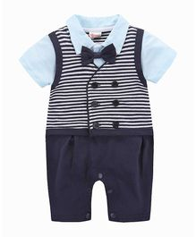 Pre Order -  Awabox Short Sleeves Romper With Striped Attached Waistcoat & Bow - Blue