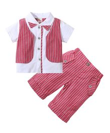 Pre Order -  Awabox Short Sleeves Shirt With Attached Striped Waistcoat & Bottom Set - Red