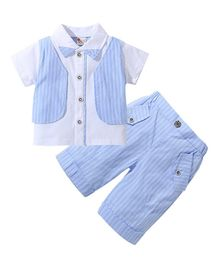 Pre Order -  Awabox Short Sleeves Shirt With Attached Striped Waistcoat & Bottom Set - Blue
