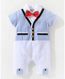 Pre Order -  Awabox Short Sleeves Checked Romper With Attached Waistcoat & Bow - Light Blue