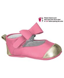 Elefantastik Baby Ballerina Shoes With Bow Strap Rose And White Gold
