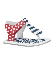Elefantastik Stripes Pattern And Dotted Print Sandals - Pimenta And White
