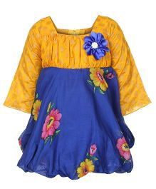 Softouch Full Sleeves Frock - Blue Yellow
