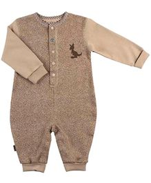 Kushies Baby Full Sleeves Organic Cotton Romper - Light Brown