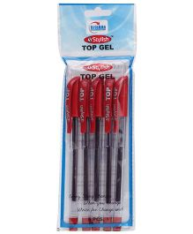Stylish Top Red Gel Pen 0.5 mm - Set Of 5