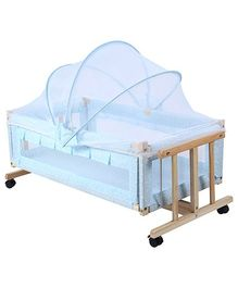 Fab N Funky Wooden Swing Cradle With Mosquito Net Blue