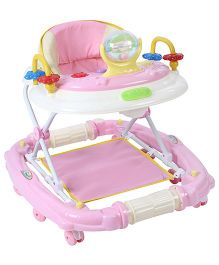 Musical Baby Walker Cum Rocker With Play Tray - Pink