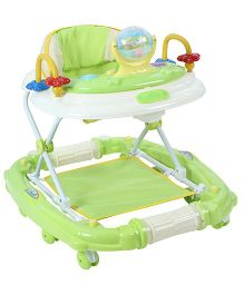 Musical Baby Walker Cum Rocker With Play Tray - Green