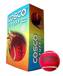 Cosco Tuff Heavy Cricket Tennis Ball - 6 Balls In One Box Red