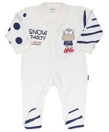 Child World Full Sleeves Romper Snow Party Print - Cream