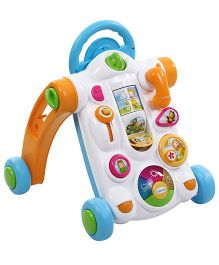 Smoby Cotoons Baby Activity Walker - White Orange