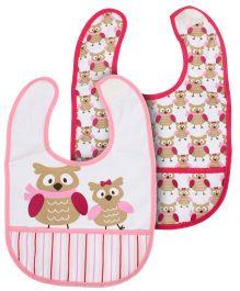 Mee Mee Set Of 2 Baby Bibs Owl Print - Pink