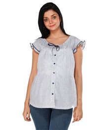 Morph Pretty White Cotton Short Sleeves Top