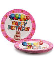 Karmallys Printed Paper Plates Happy Birthday Cake And Balloon Print - 22 cm