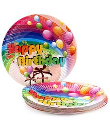 Karmallys Printed Paper Plates Gift And Balloons Print - 19 cm