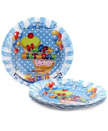 Karmallys Printed Paper Plates Happy Birthday Pastry Print - 19 cm