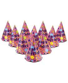 Karmallys Printed Paper Caps With Happy Birthday Flower Print - 15 cm