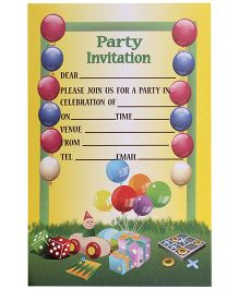 Karmallys Kids Party Invitation Pad Balloons Print - Set of 20