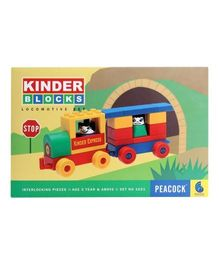 Peacock Kinder Blocks Locomotive Set - 17 Pieces