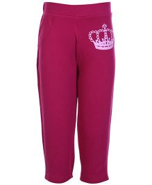 FS Mini Klub Dark Pink Crown Print Track Pant - Dual Pocket