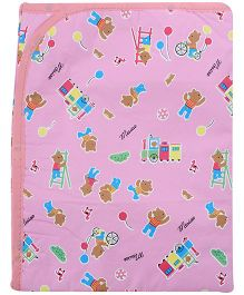 1st Step Baby Mat Teddy Bear And Train Print - Pink