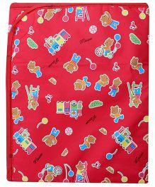 1st Step Baby Mat Teddy Bear And Train Print - Red