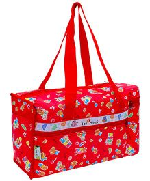 1st Step Red Diaper Bag With Bottle Holder - Bear And Train Print